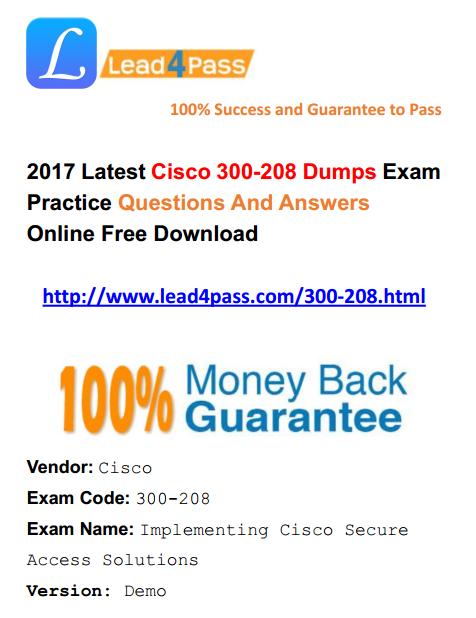 New Version] Best Cisco CCNP Security 300-208 Dumps Exam Questions